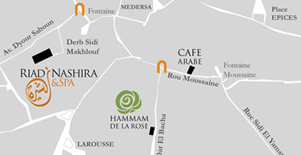 Map of hammam de la rose marrakech